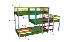 three bunk beds triple bunk bed plans howtospecialist how to build step by