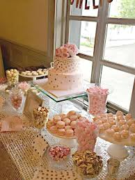 rose gold candy table bubbly bar blush pink gold bridal wedding shower party ideas