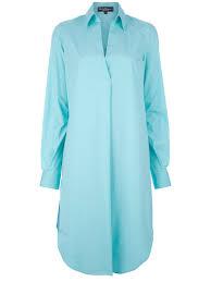 ferragamo oversized shirt dress in blue lyst