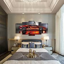 ferrari wall art amazon com geves framed wall art picture 5 panels cool orange