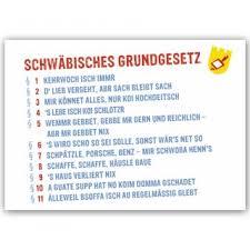 schwäbisch sprüche postkarte schwäbisches grundgesetz 1 10 un