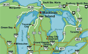 map of mackinac island by road