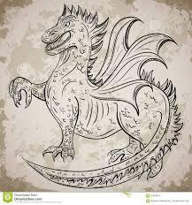Invitation Card Printers Vintage Medieval Dragon Retro Highly Detailed Hand Drawn