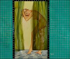 Frankenstein Shower Curtain by Fantasy Ink In The Shower