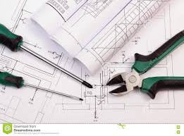 House Construction Blueprints Rolls Of Diagrams And Work Tools On Electrical Construction