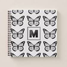 monogram black and white butterfly pattern mini binder