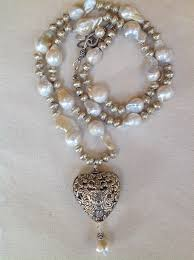 pearl necklace with pendant images Baroque pearl necklace with silver heart pendant betsy simpson jpg
