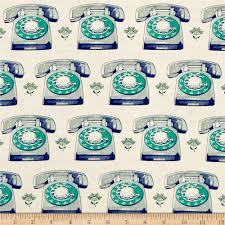 cotton steel trinket telephones aqua discount designer fabric