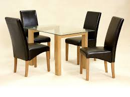 Small Black Leather Chair Chair Dining Small Glass Table 4 Chairs 50 Hygena Rye Black And