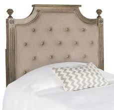 rustic wood taupe tufted linen headboard headboards furniture by
