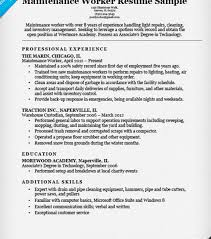 Maintenance Resume Sample by Creative Ideas Maintenance Resume Sample 10 Worker Cv Resume Ideas