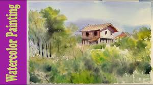 Paint The House Watercolor Painting The House Hidden In The Forest Youtube