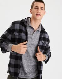Rugged Outfitters Aeo Soft U0026 Rugged Flannel Shirt Gray American Eagle Outfitters