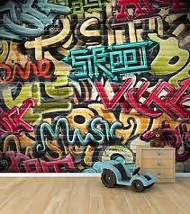 graffiti boys bedroom wall wallpaper mural style 2 childrens bedroom feature wall wm345
