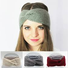 wide headband crochet turban headband winter ear warmer knitted wool bow wide
