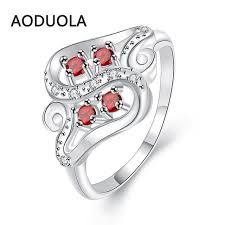 cheap rings silver images Letter s ring silver color with red zircon women 39 s cheap rings jpg
