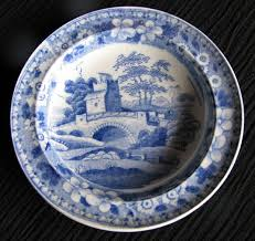 spode plate blue tower antique early 19th c