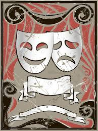 vintage masks abstract vintage background with theater masks and banners royalty