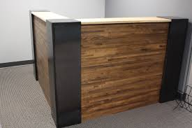 custom industrial steel and butcher block reception desk by custom made industrial steel and butcher block reception desk
