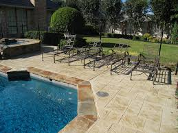 Stain Concrete Patio by Excellent Use Of Stained Concrete For This Pool Deck And Patio