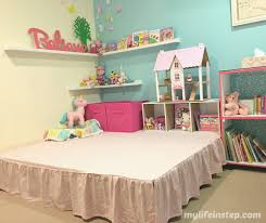 girls bedroom reveal pretty vintage shabby chic my life in step girls bedroom fun play space diy stage with lots of storage space hidden underneath