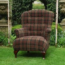 Aubergine Armchair Argyll Fabric Tartan Chair From Curiosity Interiors