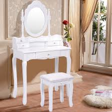 silver vanity table set white vanity makeup dressing table with mirror 3 drawers