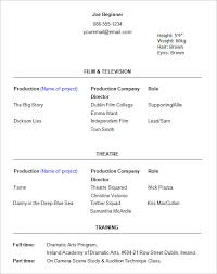 Actors Resume Example by Qualifications Resume Theatre Acting Resume Template Sample
