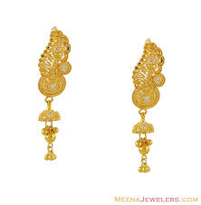 earrings gold design gold designer hanging earrings 22kt gold fancy earrings
