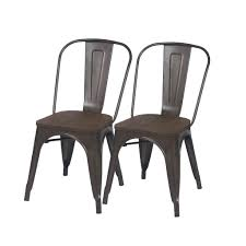 Vintage Metal And Wood Cafe Chair Abbie Home Metal Stackable Industrial Chic Dining Bistro Cafe Side