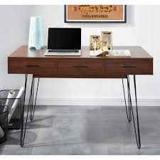 bureau 120 cm louisette bureau vintage décor noyer pieds en métal l 120 cm