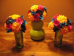 felt flower centerpieces for a fiesta themed bridal shower
