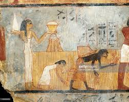 egypt thebes tomb of unsu woman bringing food to workers in egyptian civilization new kingdom dynasty xviii woman bringing food to workers in the