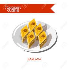 cuisine caucasienne dessert pâtisserie baklava icône plate vecteur cuisine caucasienne