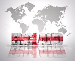 England On A World Map by Word England With English Flag On A World Map Background Stock