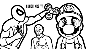 spiderman spinner super mario coloring book coloring pages