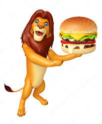 cute lion cartoon character with burger u2014 stock photo