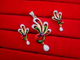 peacock design earrings in gold ads40 new designer gold plated peacock meenakari pendant
