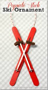 popsicle stick ski ornament felting ornament and craft