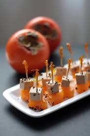 deco cagne chic cuisine kaki persimon foie gras appetiser on stick spoon and