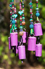 bell hanging mobile purple and turquoise home decor mobile bells