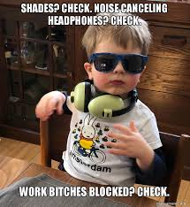 Meme Shades - shades check noise canceling headphones check work bitches