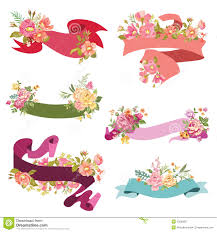 floral ribbon banners stock vector illustration of decoration