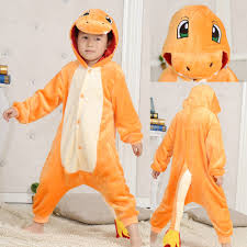 Halloween Onesie Costumes Orange Kids Charmander Pocket Monsters Kigurumi Pajama Animal