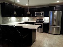 White Subway Tile Kitchen Backsplash by Kitchen Admirable Black Modern Kitchen Cabinet With Twin Pendant