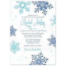 bas mitzvah invitations winter bat mitzvah invitation snowflake royal blue