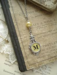 antique silver key necklace images Typewriter key jewelry yellow letter m necklace vintage jpg