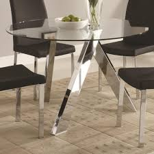 dining room round shaped glass dining table with elegant white full size of dining room glass round dining table on top with metal legs and