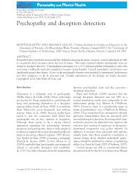 psychopathy and deception detection pdf download available