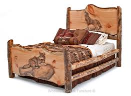 Cabin Bedroom Furniture Carved Log Bed Cabin Furniture Lodge Bedroom Rustic